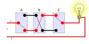 Schematics of a three-way switch (Wikipedia)