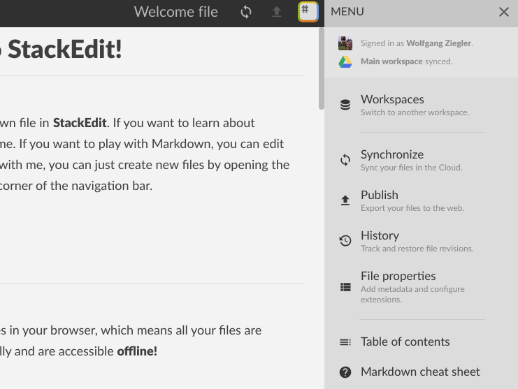 StackEdit Menu