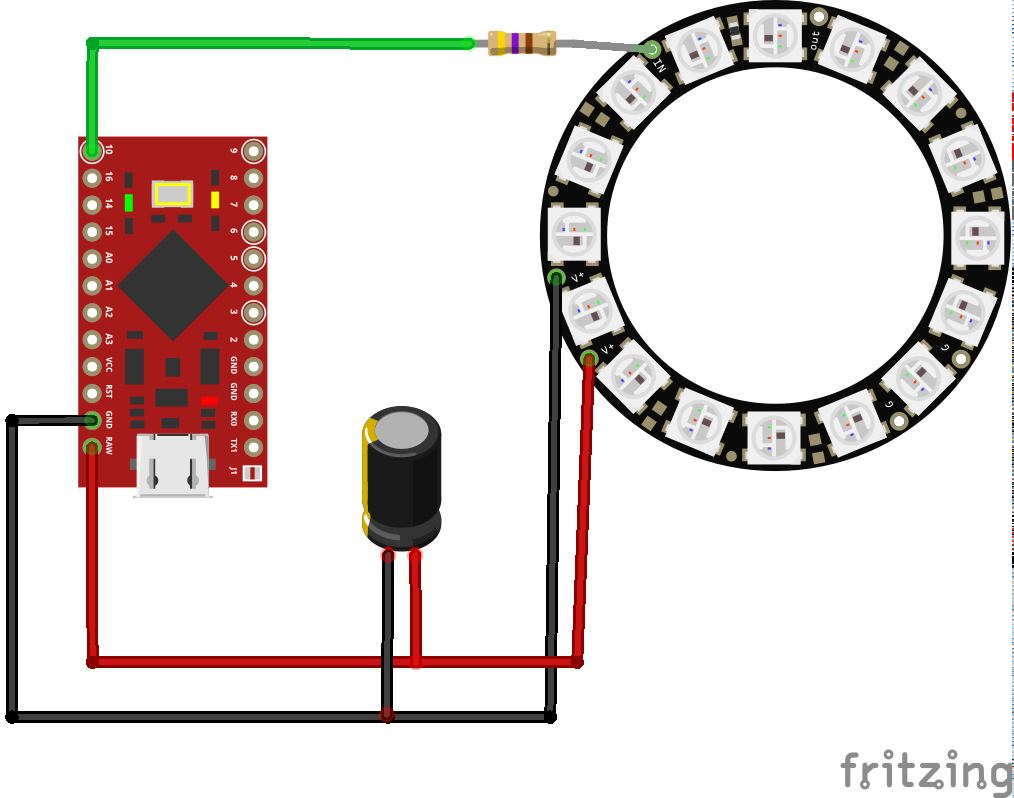 Circuit schematic for the NeoPixel ring
