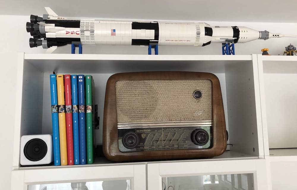 Echo Dot vintage radio on the shelf