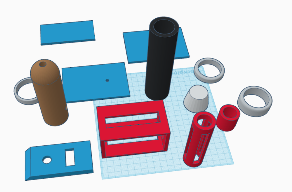 The main parts designed with Tinkercad