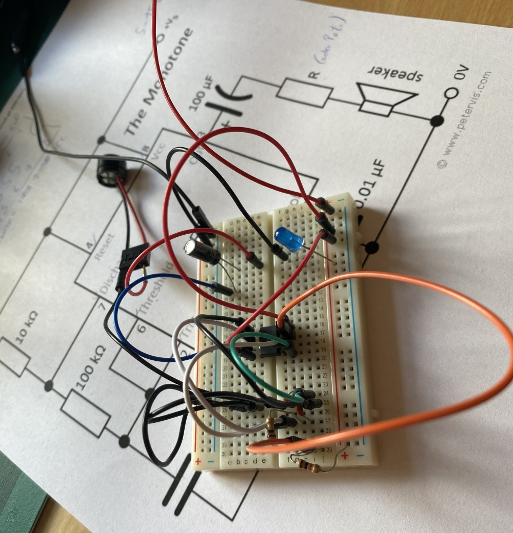 The sound generator prototyped on a breadboard