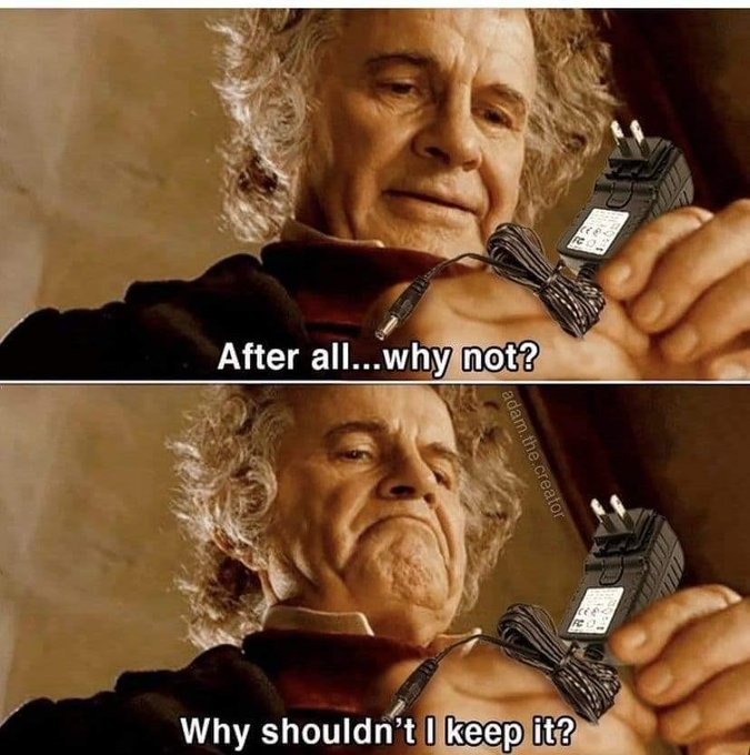 Bilbo Baggins holding a charger
